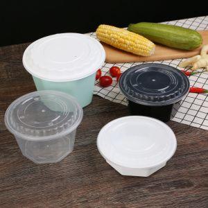 1000ml Deli recipientes alimentares clara de plástico descartáveis com tampas