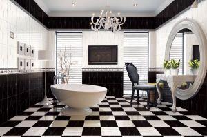 Snowy carrelage mural en céramique avec le blanc et noir pour salle de bains et cuisine