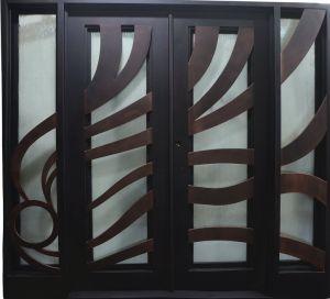 Esfregou óleo Bronze ferro forjado a porta com a pega