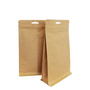 Sac de plastique à glissière à fond plat de papier Kraft Food SAC SAC avec la vanne de l'emballage (SPOT)