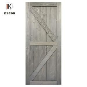 Sentiment rustique en bois de pin massif teinté coulissante de porte de grange pour l'intérieur