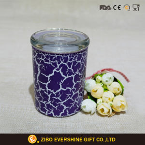 Glass Candy Storage Jar with Color Crackle Paint