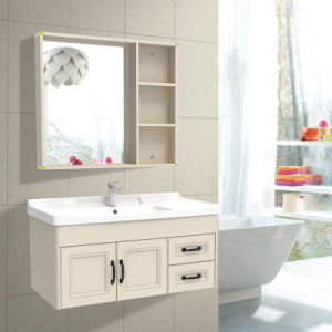 Les armoires de salle de bains vanité faite par All-Aluminum avec miroir et d'étagère