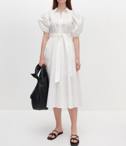 Moda Partido Clássico Plus Outono Luva Puffle Tamanhos de tecido de algodão Mude Senhoras Maxi vestido de camisa para Mulheres