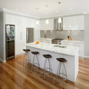 Diseño moderno muy brillante o mate de laca blanca kitchen cabinet