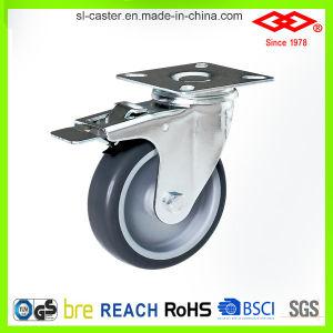 Brake Instrumental Castor Wheel (P110-34C125X27S)를 가진 TPR Swivel Plate