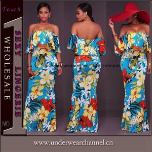 Unión Dama Sexy flores impresas Boho largo vestido de verano (TOSM7019)