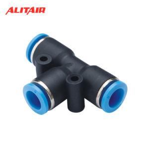 El aire PU PE PA de nylon de unión en T de conectores de mangueras de plástico de montaje de neumáticos Adaptador del tubo de aire