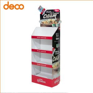 Type de sol personnalisé de vente au détail Pop 3 étagères cosmétiques Présentoir en carton