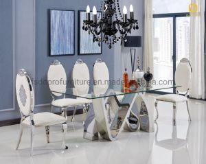 El italiano moderno mobiliario sencillo y claro la mesa de comedor de vidrio templado para uso doméstico Hotel-D1802