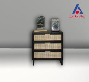 Armário de pintura de madeira preta de vime prateleira de mesa