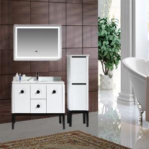 Salle de bains moderne avec LED Miroir du cabinet Cabinet de la vanité de PVC Nouveau Style