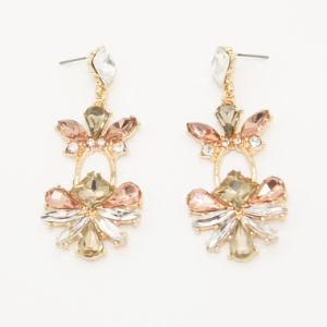 Noble Trois couleurs K9 Le verre &Rhinestone Drop Earrings Bijoux de mode