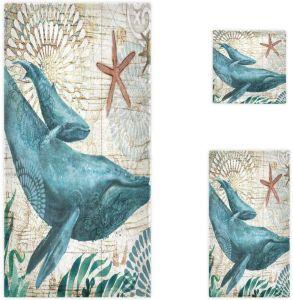 Vintage океана китов Starfish универсальную 100% хлопка на пляже полотенце для ванной комнаты отеля тренажерный зал SPA