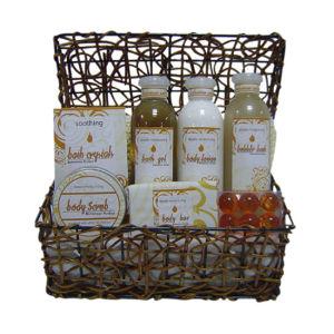 La almendra belleza baño Set de regalo con el canasto (Kin-6300)