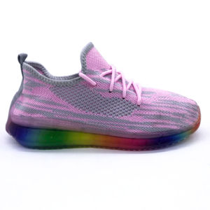 Prix bon marché Custom femmes Flyknit Sports d'injection exécutant Sneaker Shoes (ZL20803-4)