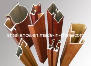 Perfil de aluminio extrusionado de aluminio/madera de grano (RAL-206)
