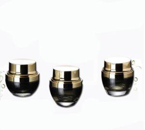 化粧品の包装のための贅沢で黒いガラスクリーム色の瓶のびん(PPC-GB-004)