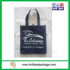 Promoción de color negro bolsa plegable no tejido para ir de compras