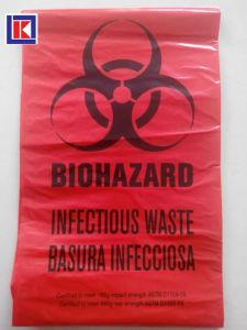 Biohazard는 롤에 Polythene 의학 폐기물 쓰레기 봉지를 인쇄했다
