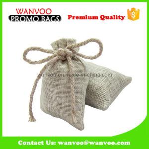 Double cordon de serrage des grains de café de la toile de jute sac pochette