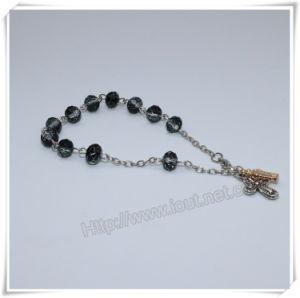 Het zwarte Glas parelt de Katholieke Armband van de Rozentuin op Ketting (io-CB182)
