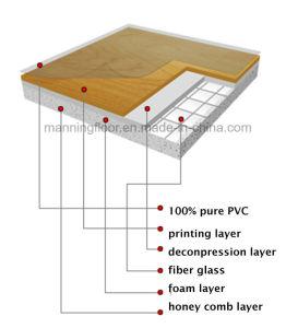 Broodje van de Vloer van pvc van de Kleur van de esdoorn het Binnen voor Houten Patroon 4.5mm van het Hof van het Basketbal van Sporten