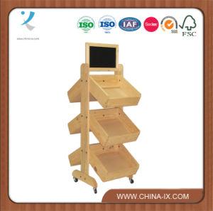 3 Rack de Exibição de madeira em camadas com 6 compartimentos de ângulo recto