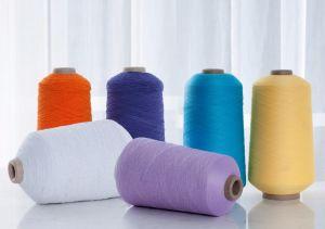 Fil recouvert de caoutchouc pour le tricotage de chaussettes de couleurs de fils en caoutchouc noir et blanc
