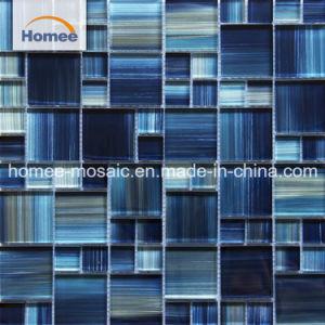 Navy Blue Crystal piscina azulejos pintados à mão em mosaico de vidro