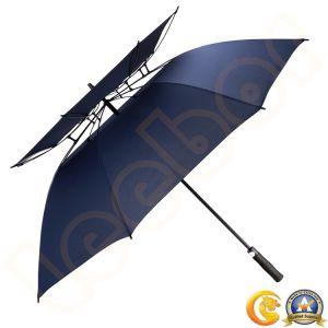 De wind Automatische Paraplu van het Golf van de Laag van de Glasvezel Dubbele/Luifel Grote/Grote