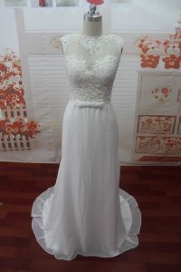 Appliques O-Neck Cap Sleeve Real Photo Wedding Dress (WDZ52)