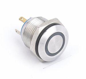 16mmの平らな円形のリングLEDの金属の押しボタンスイッチ