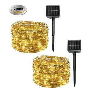 Cadena de LED de energía solar LED de 50 LED cobre estrellado de la luz de la cadena de Tienda Venta de árbol de la decoración del hogar