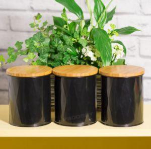 3 PC Caja metálica con tapa de bambú