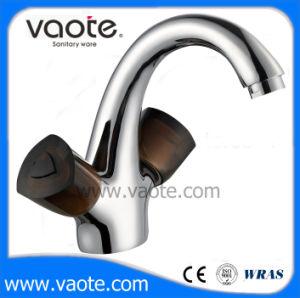 二重プラスチックハンドル真鍮ボディ洗面器のコック(VT60603)
