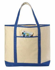 Leichte Segeltuchtote-Strand-Handtasche mit Zippered herauf Schliessen