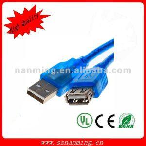 USB Male del USB Extension Cable del USB trasparente di Blue a Female Cable