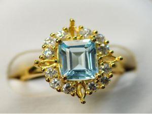 Anello d'argento 925 con il Topaz blu (LBT0002)