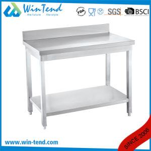Equipamiento de cocina 2 capas de acero inoxidable comercial mesa de trabajo Banco con la frontera y con backsplash