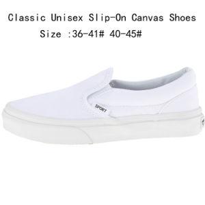 Venta caliente blanco Unisex Classic Slip-on los zapatos de lona (160311-2)
