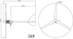 5kw 5000Wのホーム使用のための水平の軸線の風力発電機