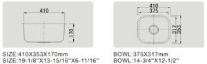 Acero inoxidable Undermounted SUS304 solo Bowl Bar Fregadero