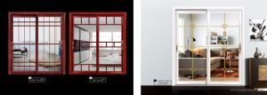 Portello scorrevole di vetro del grano del doppio di alluminio di legno di profilo per il balcone