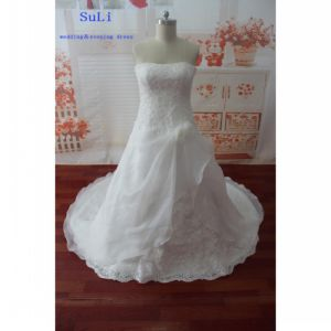 Strapless Appliques Real Photo Sleeveless Wedding Dress (WDZ58)