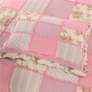 Trapunta di rappezzatura calda di colore rosa di vendita con le coperture del cotone & il materiale da otturazione del cotone