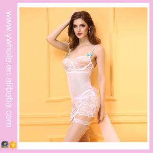 Sexy White Garter Floral Lace Chemise Lingerie Veste de mariée Transparent Night Wear Lingerie de camisole de Noël