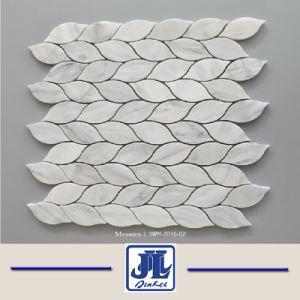 カラーラの白い大理石のモザイクファンは取付けられた網のタイルを形づけた