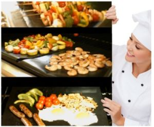 Opnieuw te gebruiken PTFE bedekte de In het groot BBQ van de Oven van de Douane Non-Stick Mat van de Grill met een laag