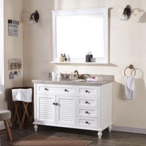 Foshan-Fabrik-Blendenverschluss-Tür-weiße Matt angestrichene festes Holz-Eitelkeit mit Spiegel (ACS1-W141)